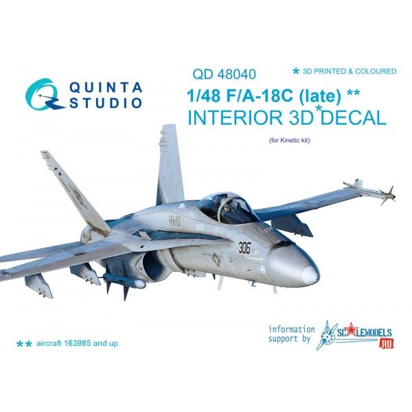 3D Декаль интерьера кабины F/A-18С (late) (для модели Kinetic)