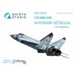 3D Декаль интерьера кабины МиГ-31Б (для модели Trumpeter)
