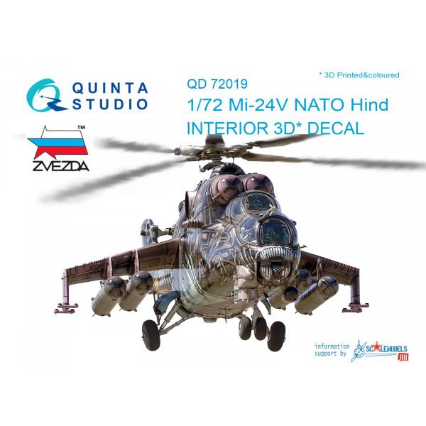 3D Декаль интерьера кабины   Ми-24В НАТО (черные панели) (для модели Звезда)